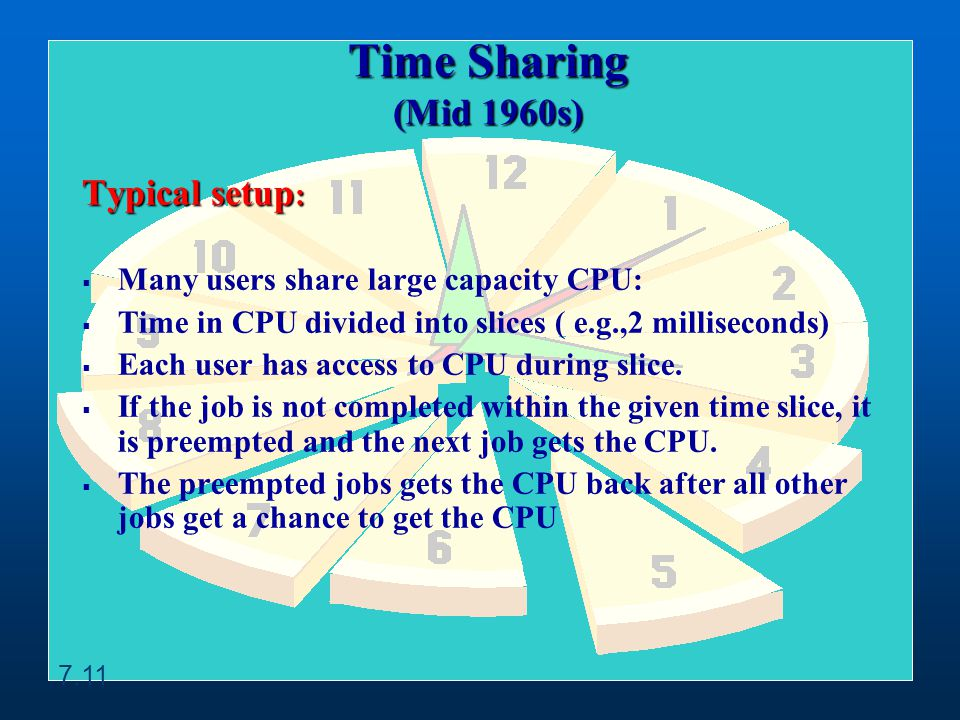 Typical setup : Many users share large capacity CPU: Time in CPU divided into slices ( e.g.,2 milliseconds) Each user has access to CPU during slice.