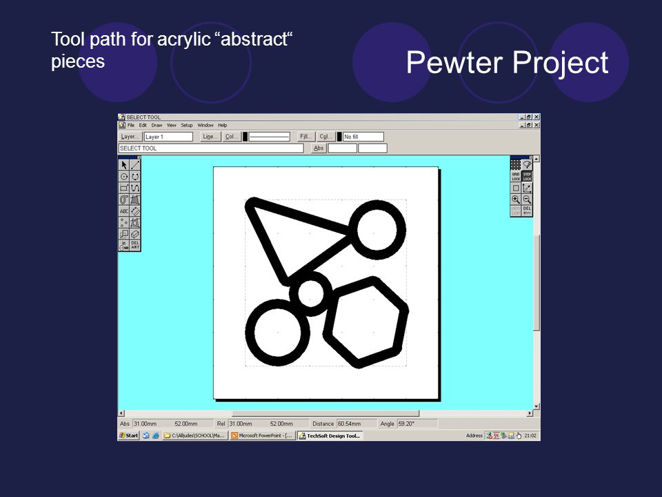 Pewter Project Tool path for acrylic abstract pieces