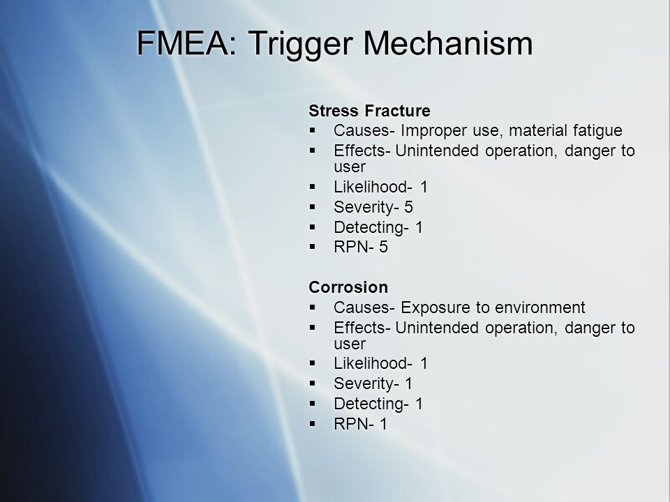 FMEA: Trigger Mechanism Stress Fracture Causes- Improper use, material fatigue Effects- Unintended operation, danger to user Likelihood- 1 Severity- 5