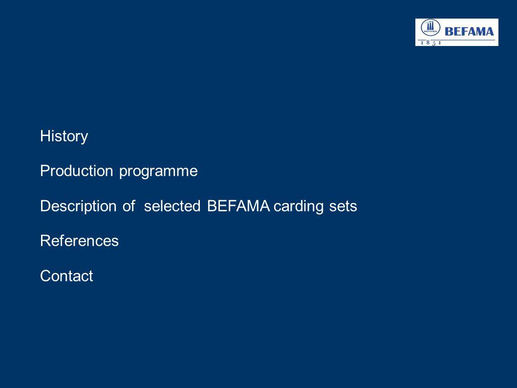 description of selected BEFAMA carding sets