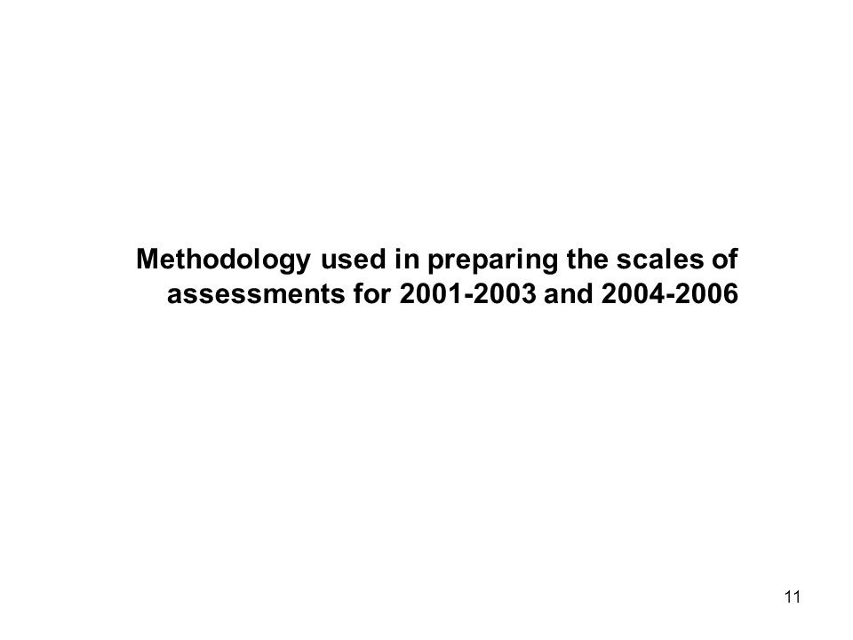 11 Methodology used in preparing the scales of assessments for and