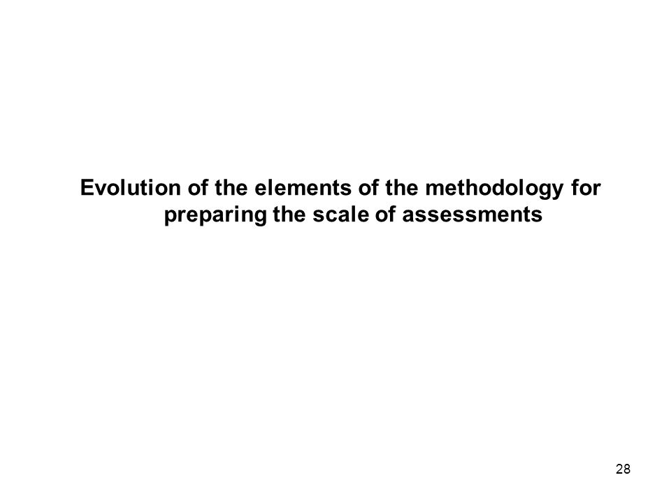 28 Evolution of the elements of the methodology for preparing the scale of assessments