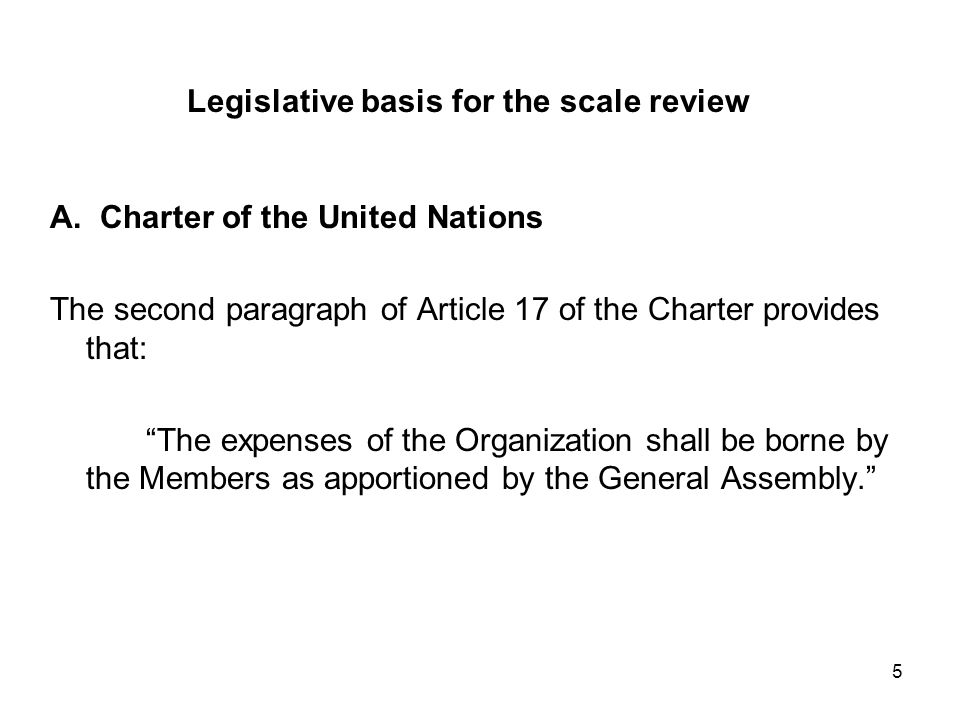 5 Legislative basis for the scale review A.