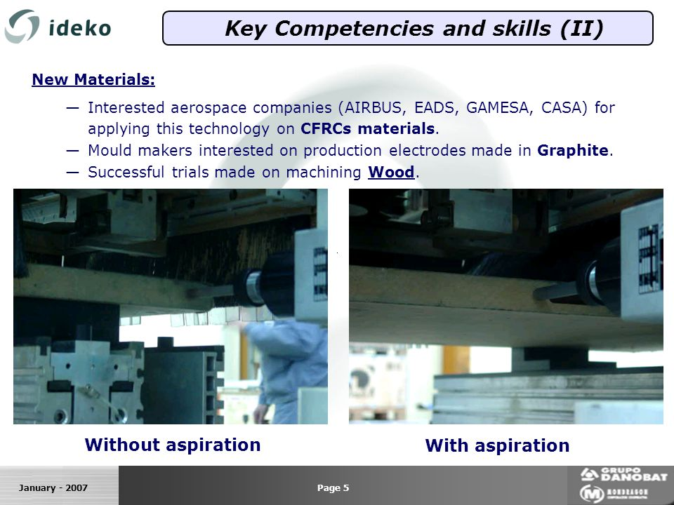 January - 2007 Key Competencies and skills (II) New Materials: Interested aerospace companies (AIRBUS, EADS, GAMESA, CASA) for applying this technology on CFRCs materials.