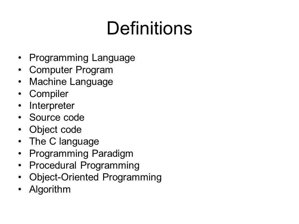 Programming Language A vocabulary and set of grammatical rules for instructing a computer to perform specific tasks.