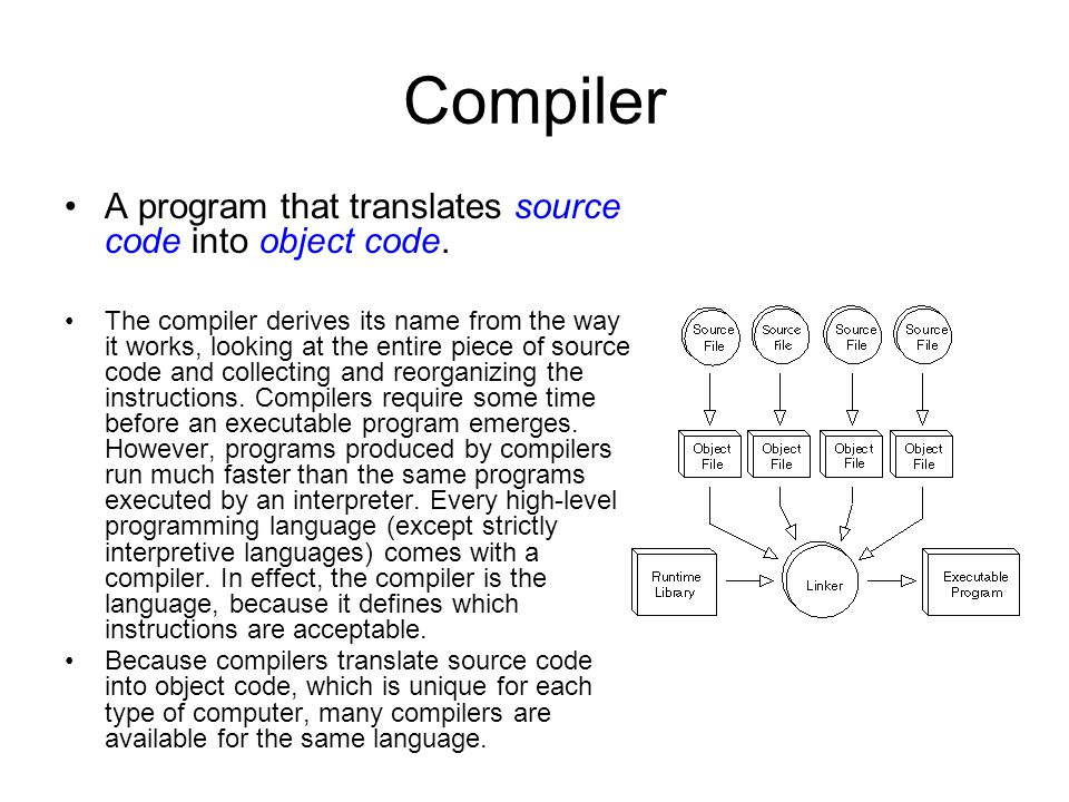 Compiler A program that translates source code into object code. The compiler derives its name from the way it works, looking at the entire piece of s