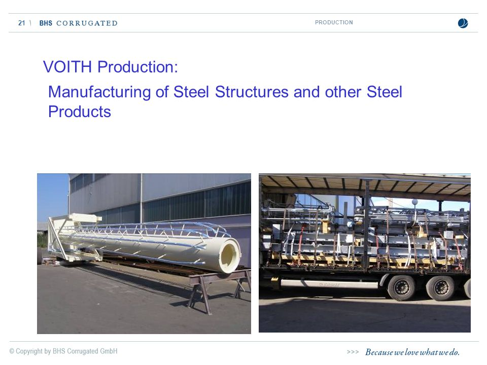 21 VOITH Production: Manufacturing of Steel Structures and other Steel Products PRODUCTION