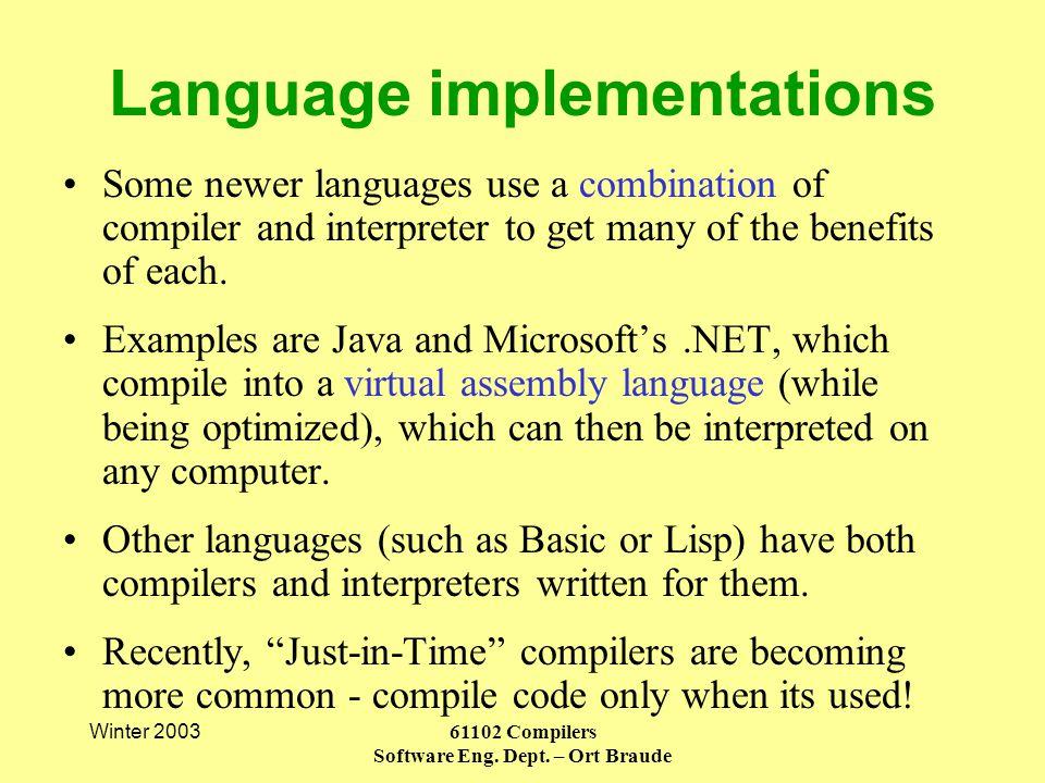 Winter 200361102 Compilers Software Eng. Dept.