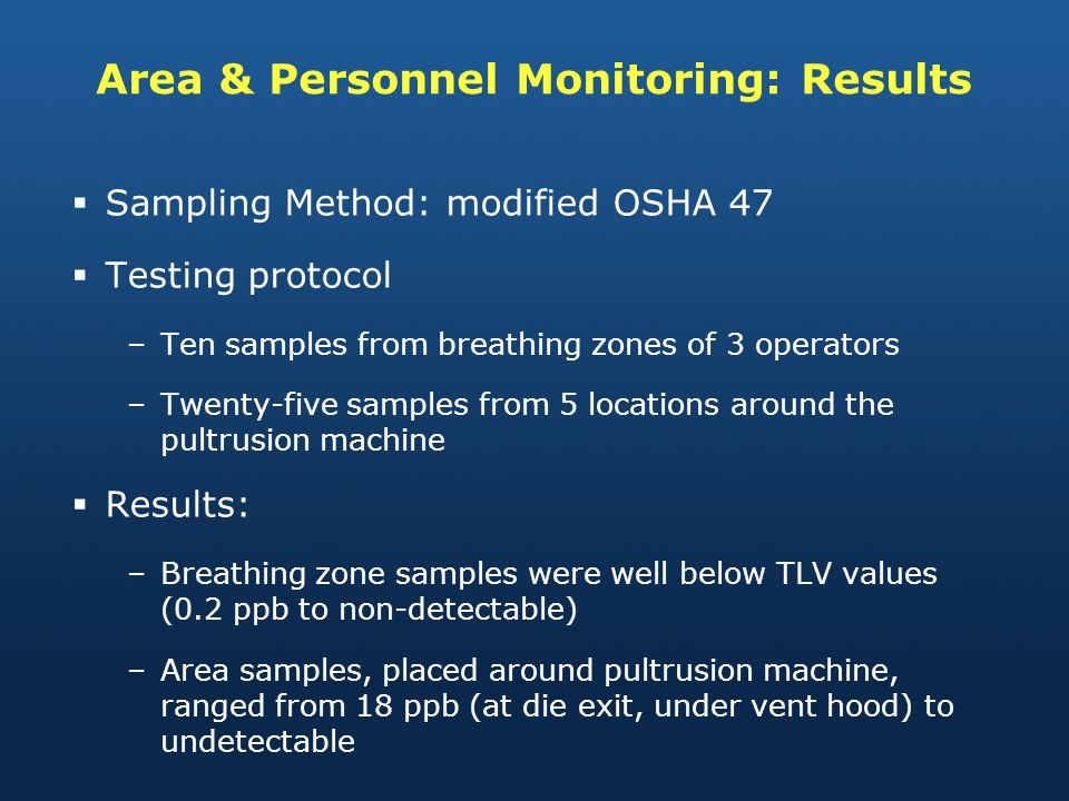 Area & Personnel Monitoring: Results Sampling Method: modified OSHA 47 Testing protocol –Ten samples from breathing zones of 3 operators –Twenty-five samples from 5 locations around the pultrusion machine Results: –Breathing zone samples were well below TLV values (0.2 ppb to non-detectable) –Area samples, placed around pultrusion machine, ranged from 18 ppb (at die exit, under vent hood) to undetectable