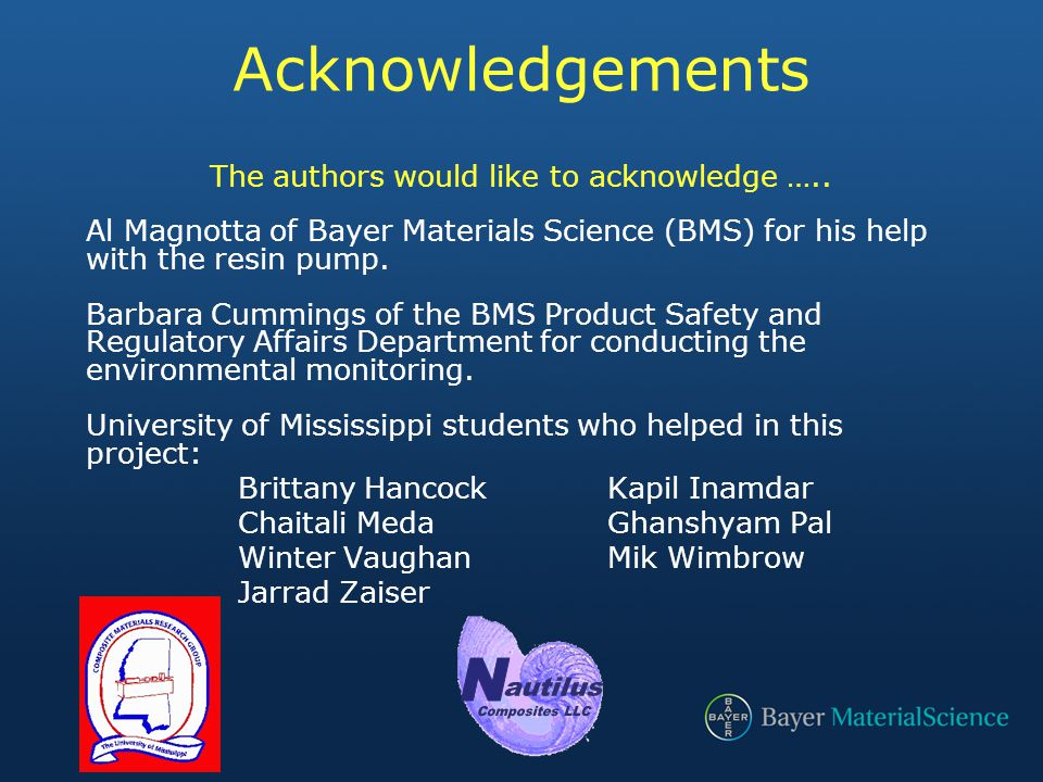 Acknowledgements The authors would like to acknowledge …..