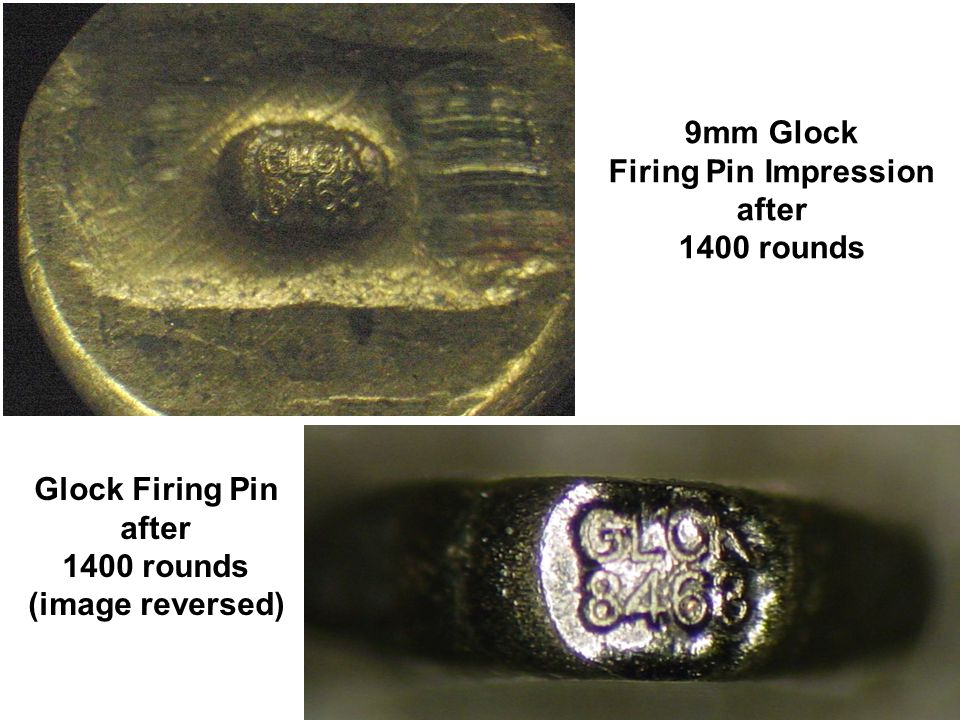 9mm Glock Firing Pin Impression after 1400 rounds Glock Firing Pin after 1400 rounds (image reversed)