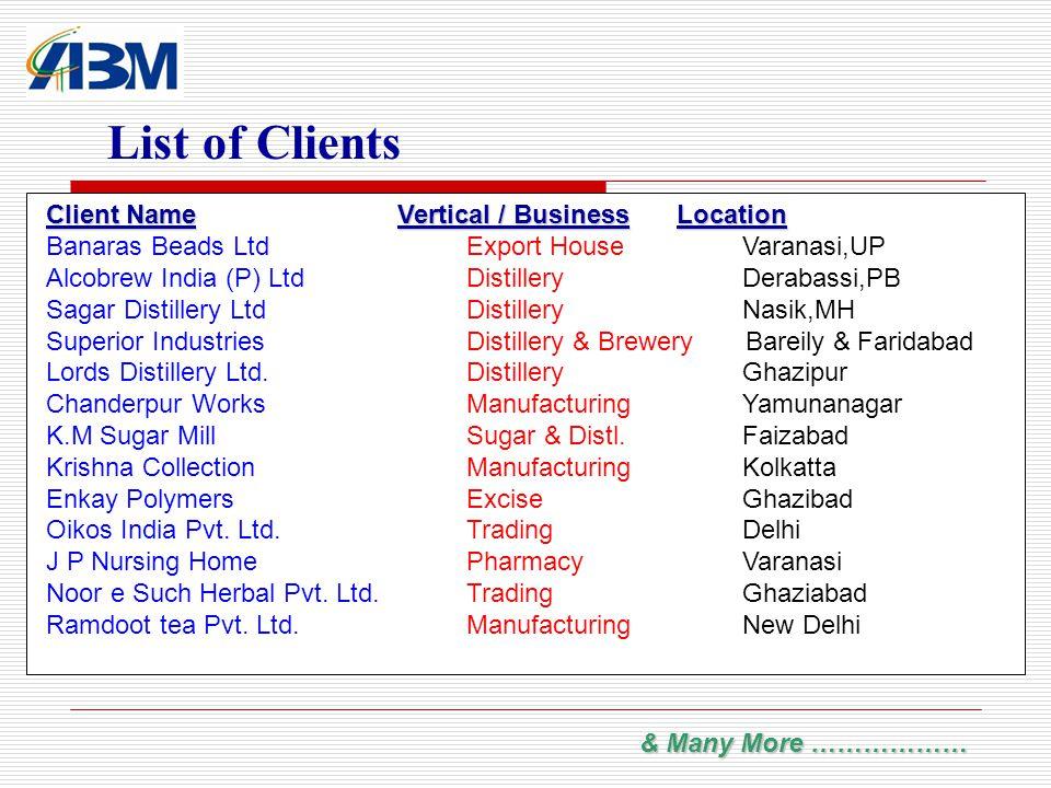 List of Clients Client NameVertical / BusinessLocation Client Name Vertical / BusinessLocation Banaras Beads LtdExport House Varanasi,UP Alcobrew Indi