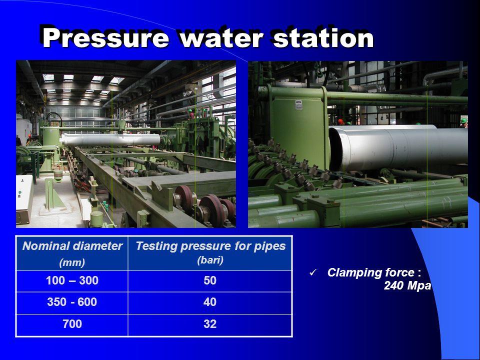 Pressure water station Clamping force : 240 Mpa Nominal diameter (mm) Testing pressure for pipes (bari) 100 – 30050 350 - 60040 70032