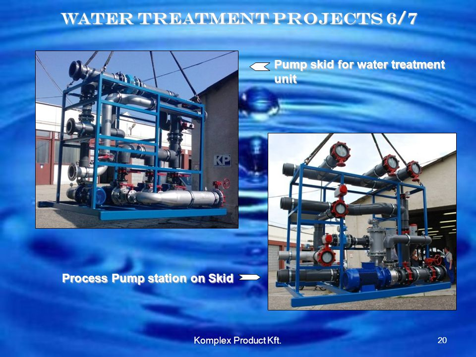 Water treatment Projects 6/7 Pump skid for water treatment unit Process Pump station on Skid 20 Komplex Product Kft.