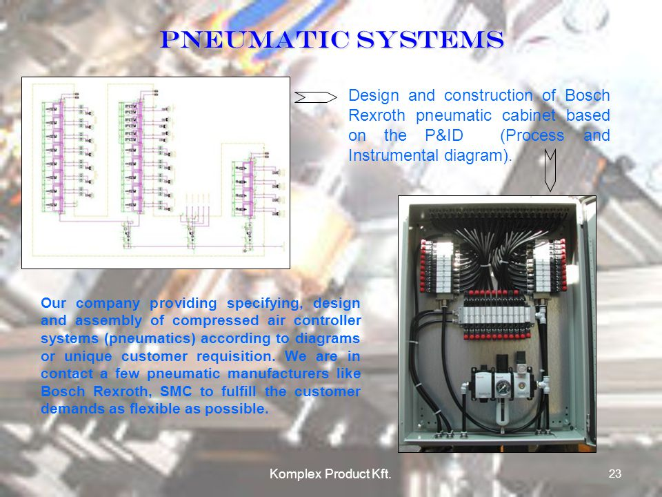 PneumatIC SYSTEMS Design and construction of Bosch Rexroth pneumatic cabinet based on the P&ID (Process and Instrumental diagram).