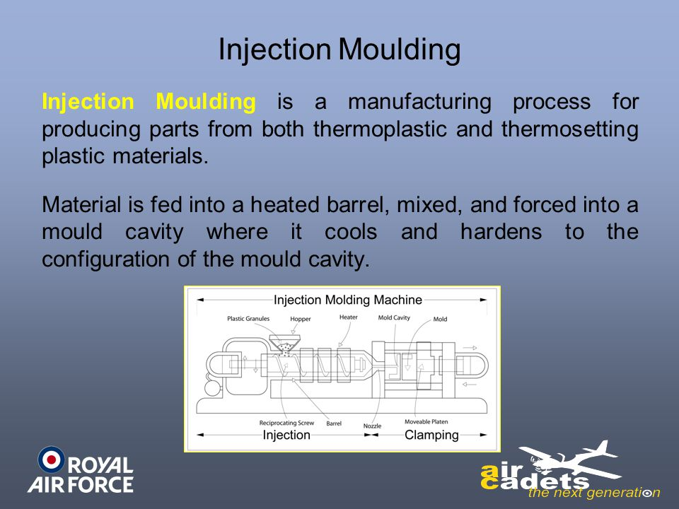 Injection Moulding Injection Moulding is a manufacturing process for producing parts from both thermoplastic and thermosetting plastic materials. Mate