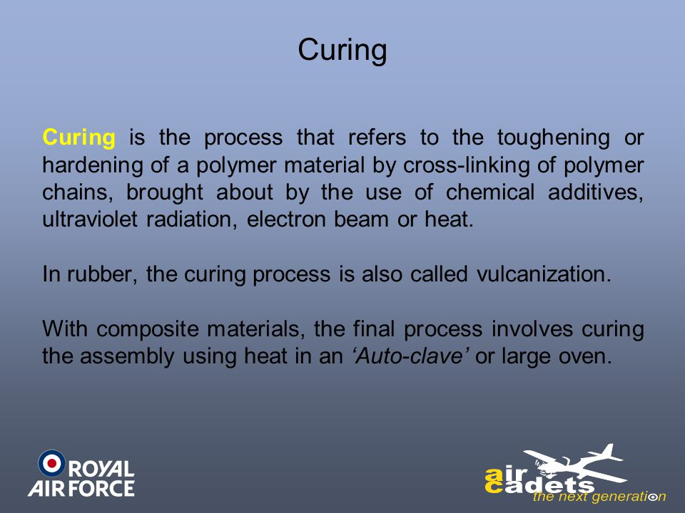 Curing Curing is the process that refers to the toughening or hardening of a polymer material by cross-linking of polymer chains, brought about by the