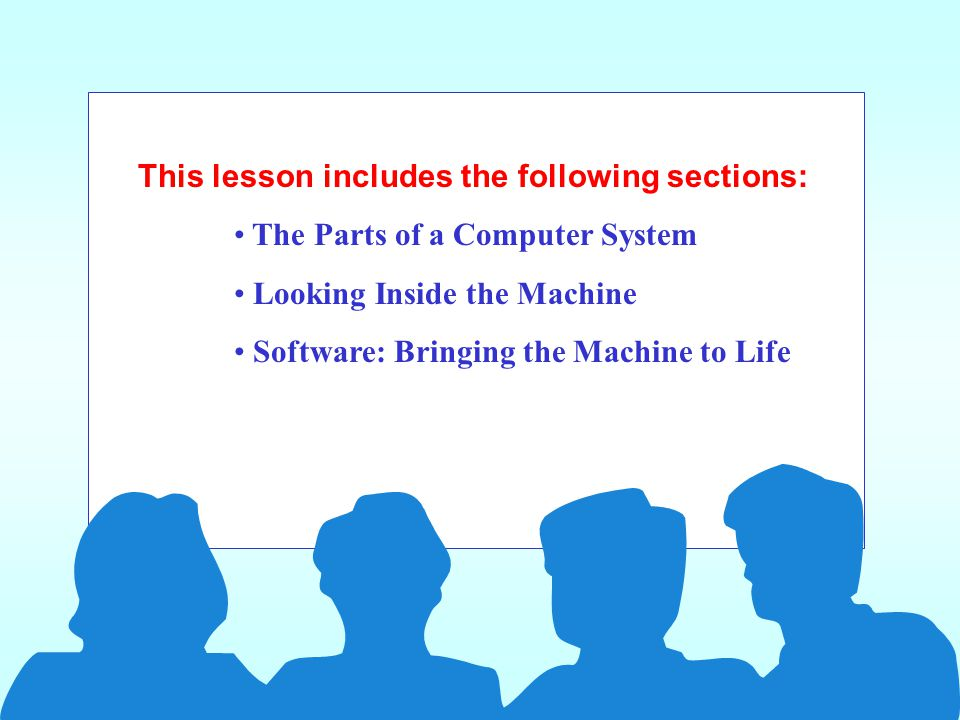 A computer s hardware devices are categorized as follows: Processor Memory Input and output (I/O) devices Storage devices Looking Inside the Machine – Types of Hardware