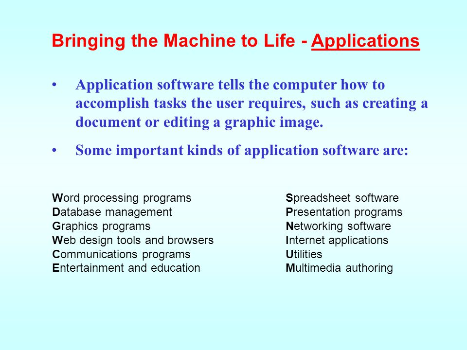 Application software tells the computer how to accomplish tasks the user requires, such as creating a document or editing a graphic image. Some import