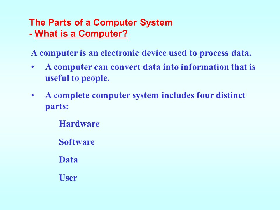 A computer can convert data into information that is useful to people. A complete computer system includes four distinct parts: Hardware Software Data