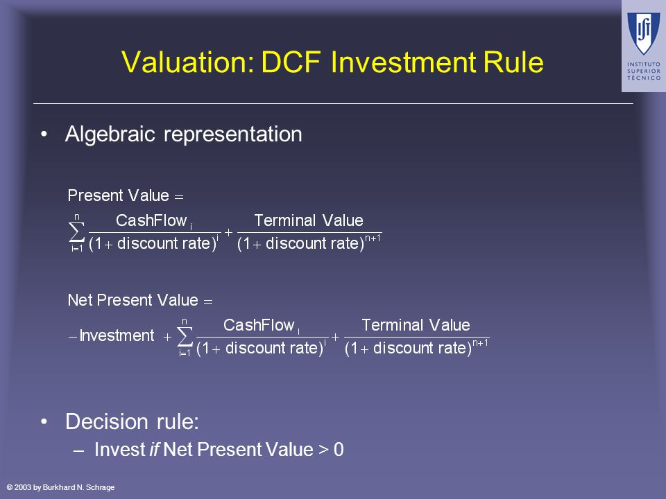 © 2003 by Burkhard N. Schrage Valuation: DCF Investment Rule Algebraic representation Decision rule: –Invest if Net Present Value > 0