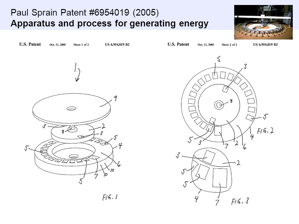 Paul Sprain Patent #6954019 (2005) Apparatus and process for generating energy
