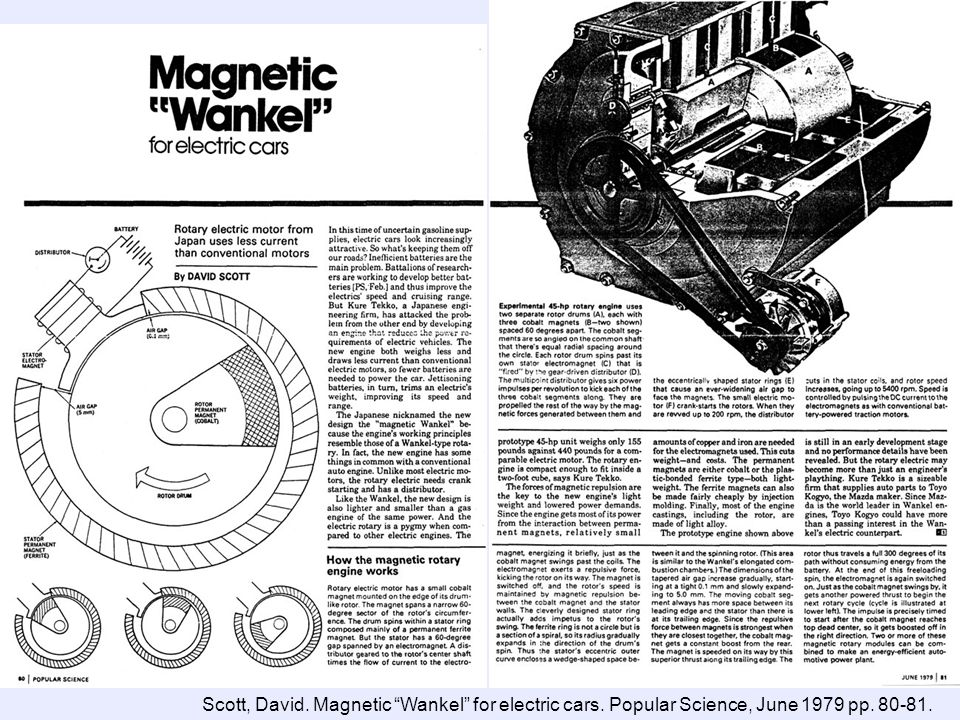 Scott, David. Magnetic Wankel for electric cars. Popular Science, June 1979 pp. 80-81.