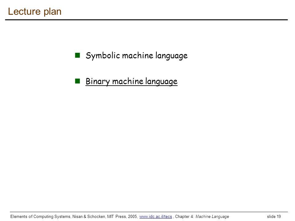 Elements of Computing Systems, Nisan & Schocken, MIT Press, 2005, www.idc.ac.il/tecs, Chapter 4: Machine Language slide 19www.idc.ac.il/tecs Lecture p