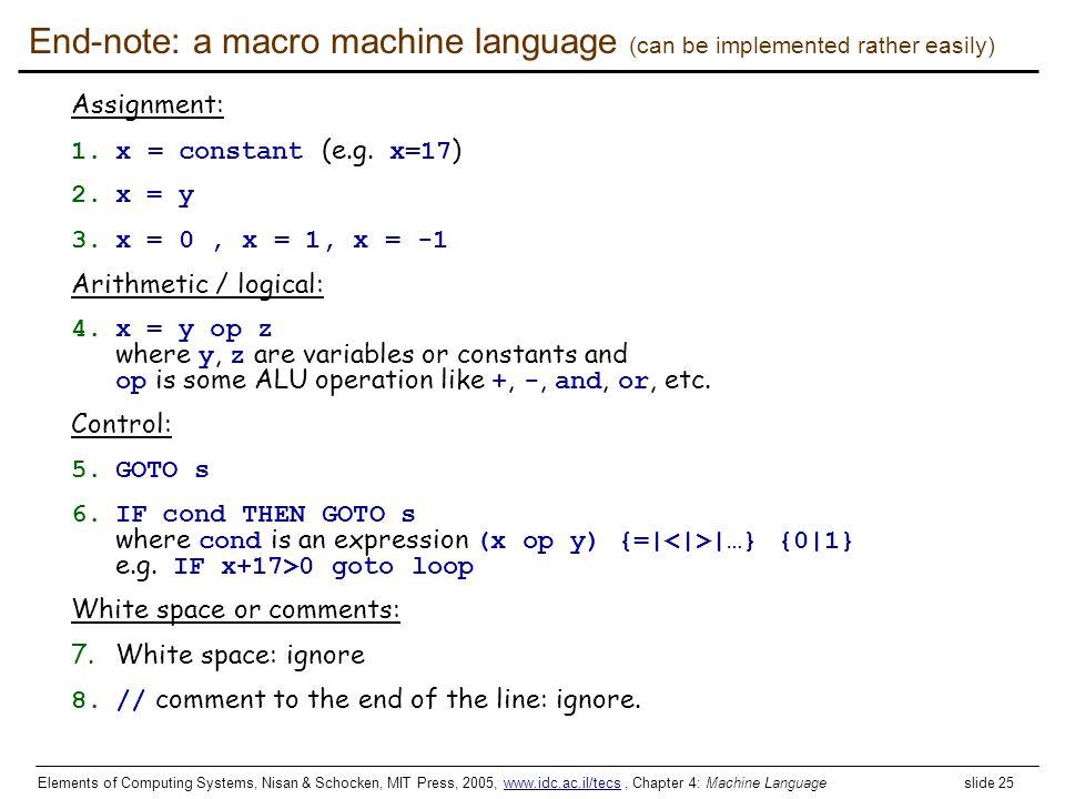 Elements of Computing Systems, Nisan & Schocken, MIT Press, 2005, www.idc.ac.il/tecs, Chapter 4: Machine Language slide 25www.idc.ac.il/tecs End-note: