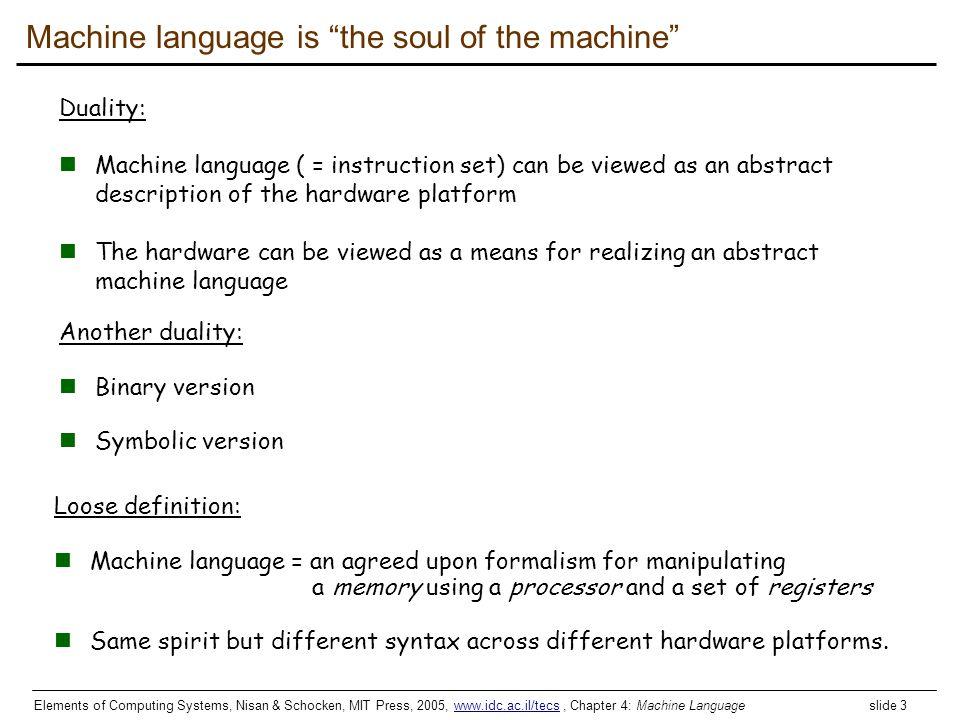 Elements of Computing Systems, Nisan & Schocken, MIT Press, 2005, www.idc.ac.il/tecs, Chapter 4: Machine Language slide 3www.idc.ac.il/tecs Machine la
