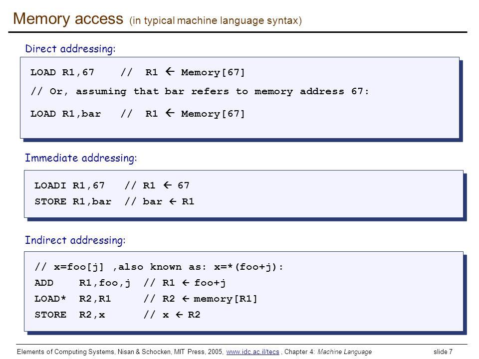 Elements of Computing Systems, Nisan & Schocken, MIT Press, 2005, www.idc.ac.il/tecs, Chapter 4: Machine Language slide 7www.idc.ac.il/tecs Memory acc