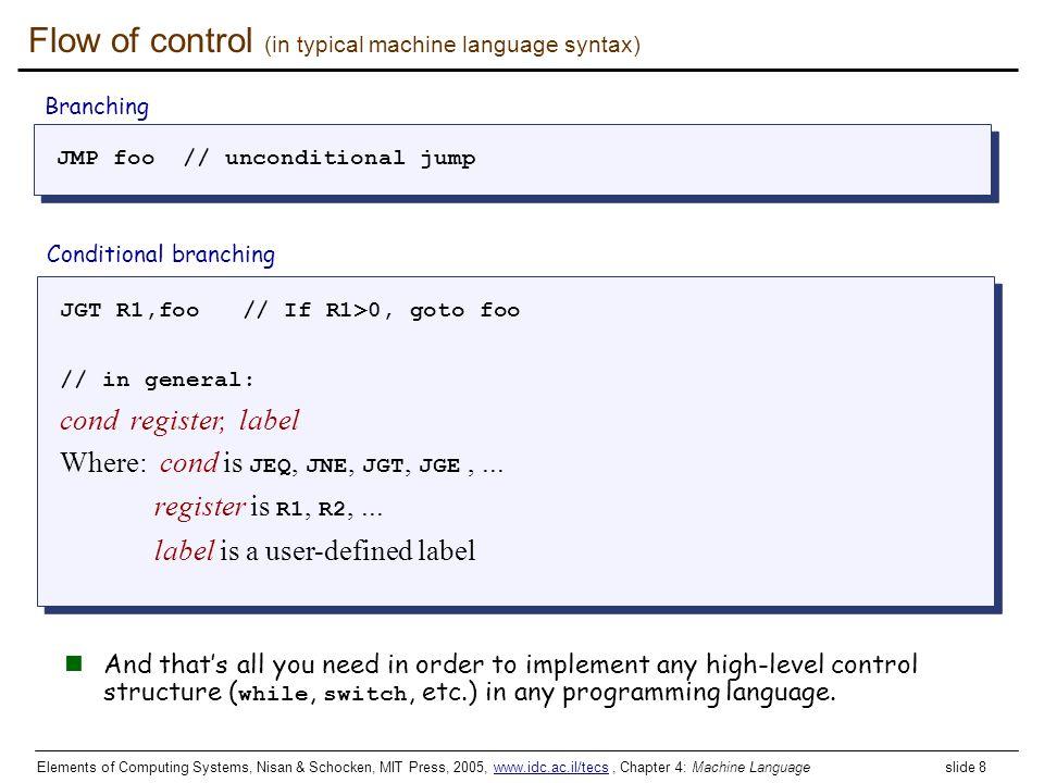 Elements of Computing Systems, Nisan & Schocken, MIT Press, 2005, www.idc.ac.il/tecs, Chapter 4: Machine Language slide 8www.idc.ac.il/tecs Flow of co