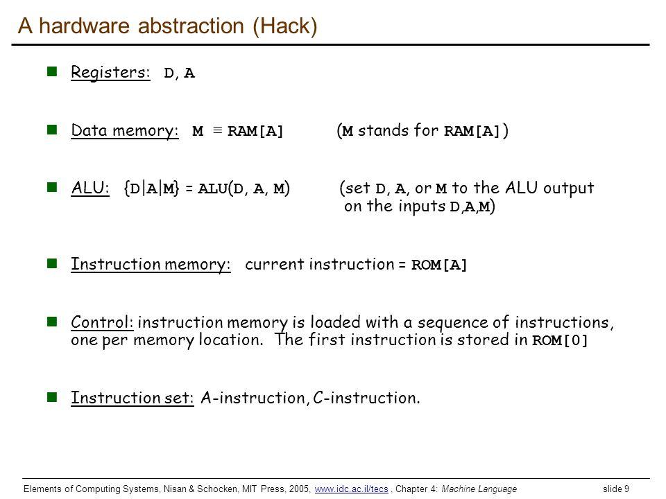 Elements of Computing Systems, Nisan & Schocken, MIT Press, 2005, www.idc.ac.il/tecs, Chapter 4: Machine Language slide 9www.idc.ac.il/tecs A hardware