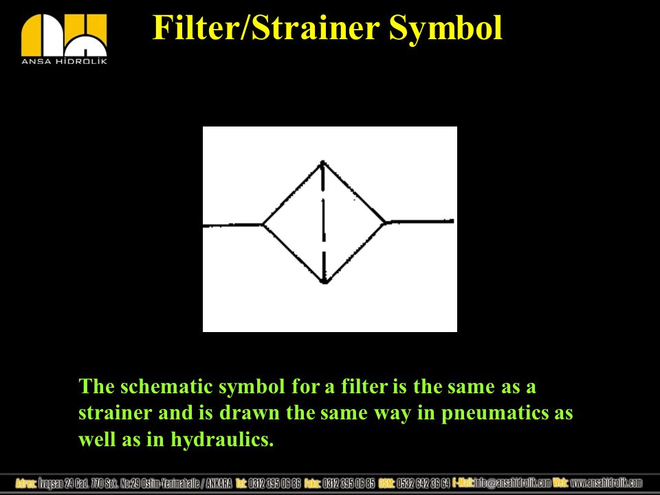 Filter/Strainer Symbol The schematic symbol for a filter is the same as a strainer and is drawn the same way in pneumatics as well as in hydraulics.