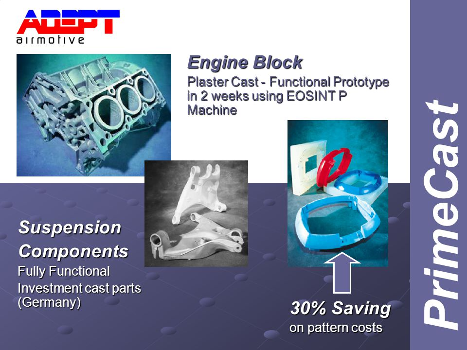 Engine Block Plaster Cast - Functional Prototype in 2 weeks using EOSINT P Machine SuspensionComponents Fully Functional Investment cast parts (Germany) 30% Saving on pattern costs PrimeCast