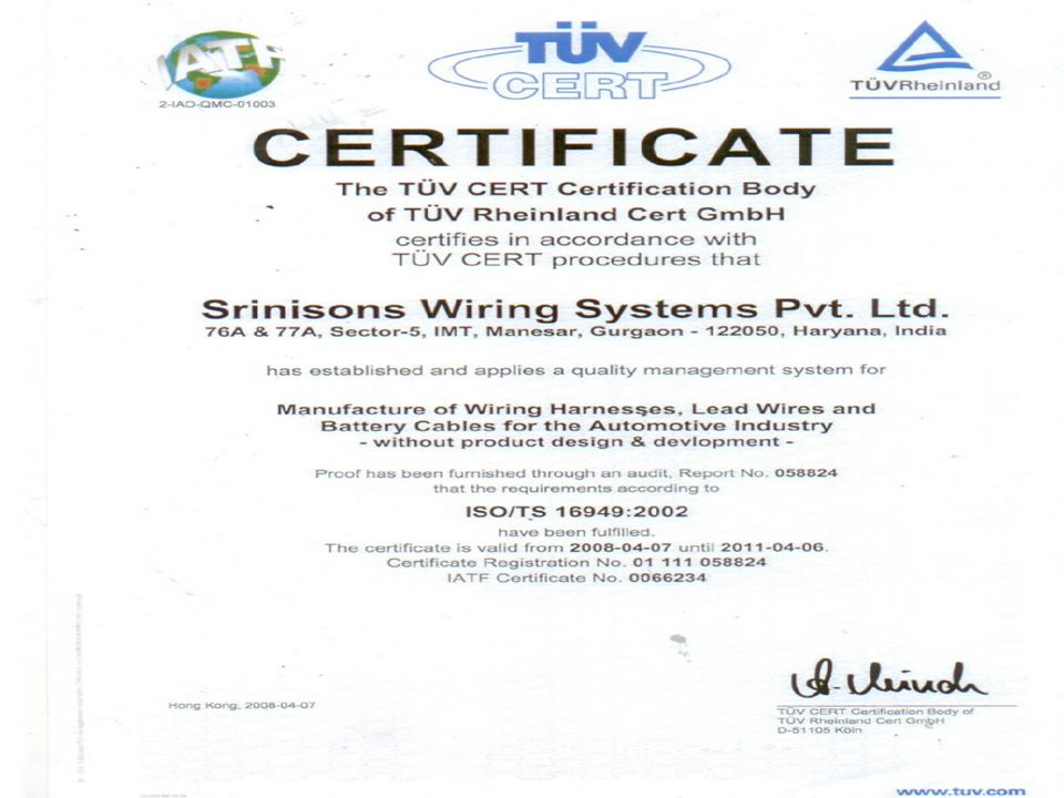 Srinisons Wiring Systems Private Limited Manesar Plant 27 Manesar Plant The Srinisons Group