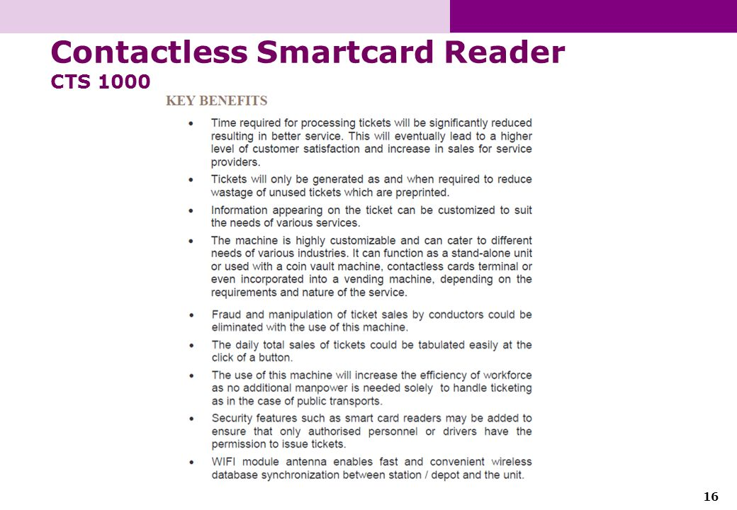 16 Contactless Smartcard Reader CTS 1000