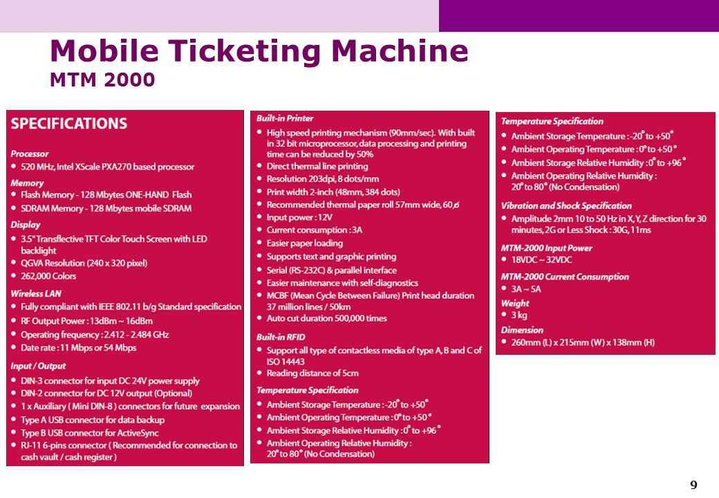 9 Mobile Ticketing Machine MTM 2000