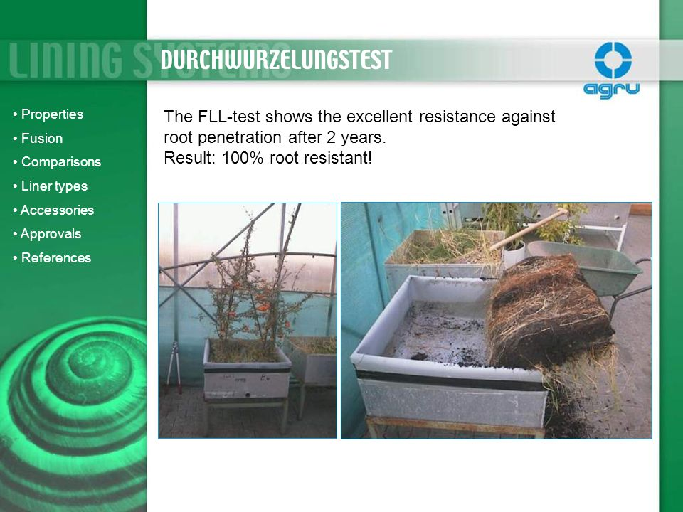 The FLL-test shows the excellent resistance against root penetration after 2 years. Result: 100% root resistant! DURCHWURZELUNGSTEST Properties Fusion