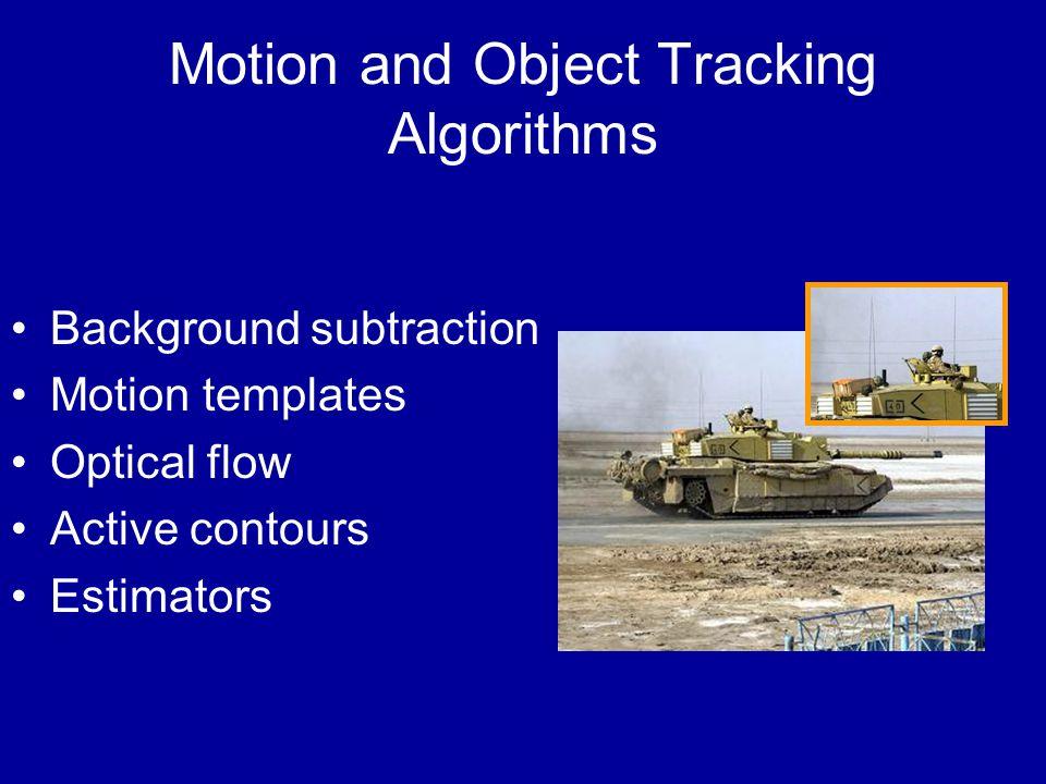 Motion and Object Tracking Algorithms Background subtraction Motion templates Optical flow Active contours Estimators
