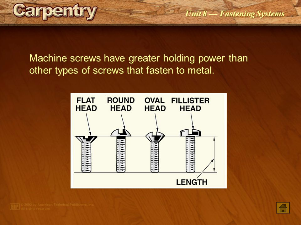 Unit 8 Fastening Systems Concrete screws are used to fasten items to concrete, brick, or block without the use of additional anchors.