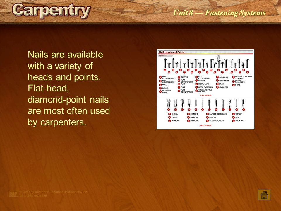 PowerPoint ® Presentation Unit 8 Fastening Systems Nails Staples Screws Bolts Hollow-wall Fasteners Solid Concrete or Solid Masonry Wall Anchors Drive