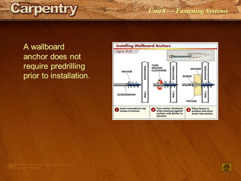 Unit 8 Fastening Systems When installing a screw anchor in a hollow wall, the shield spreads and flattens against the interior of the wall as the scre