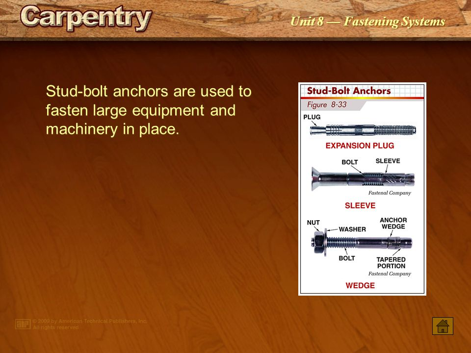 Unit 8 Fastening Systems A self-drilling anchor is placed in a special chuck head that is adapted for a rotary hammer.