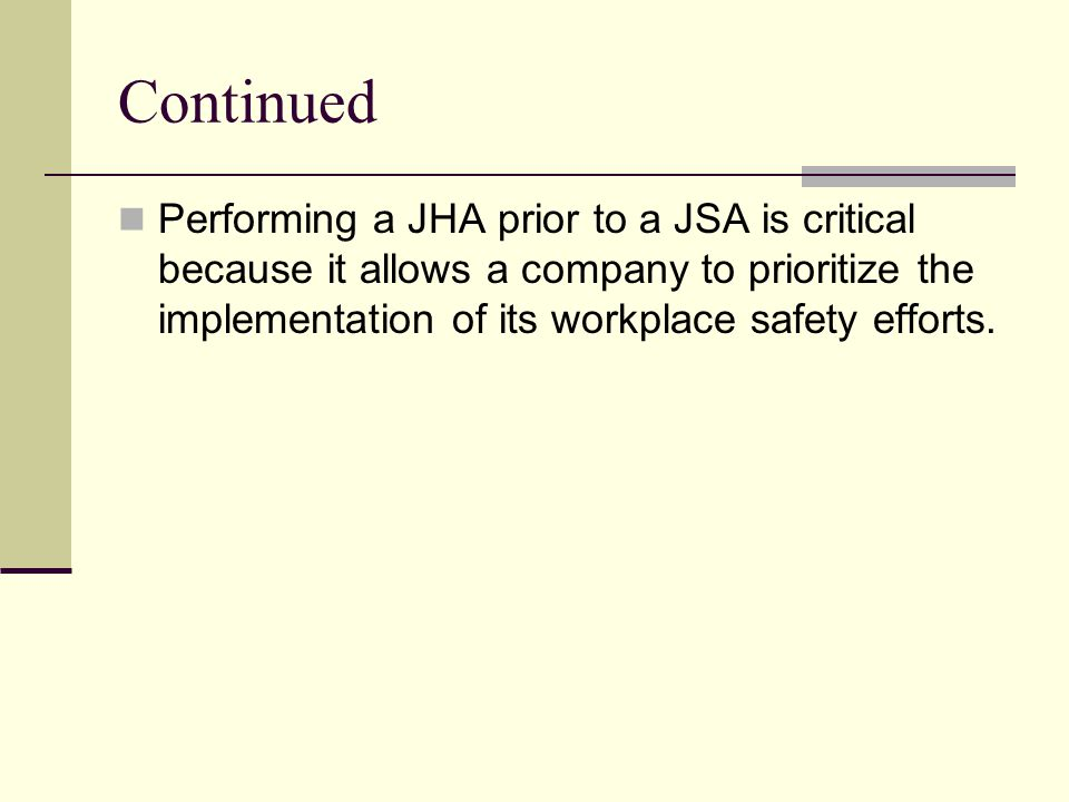 Why is a JHA important.