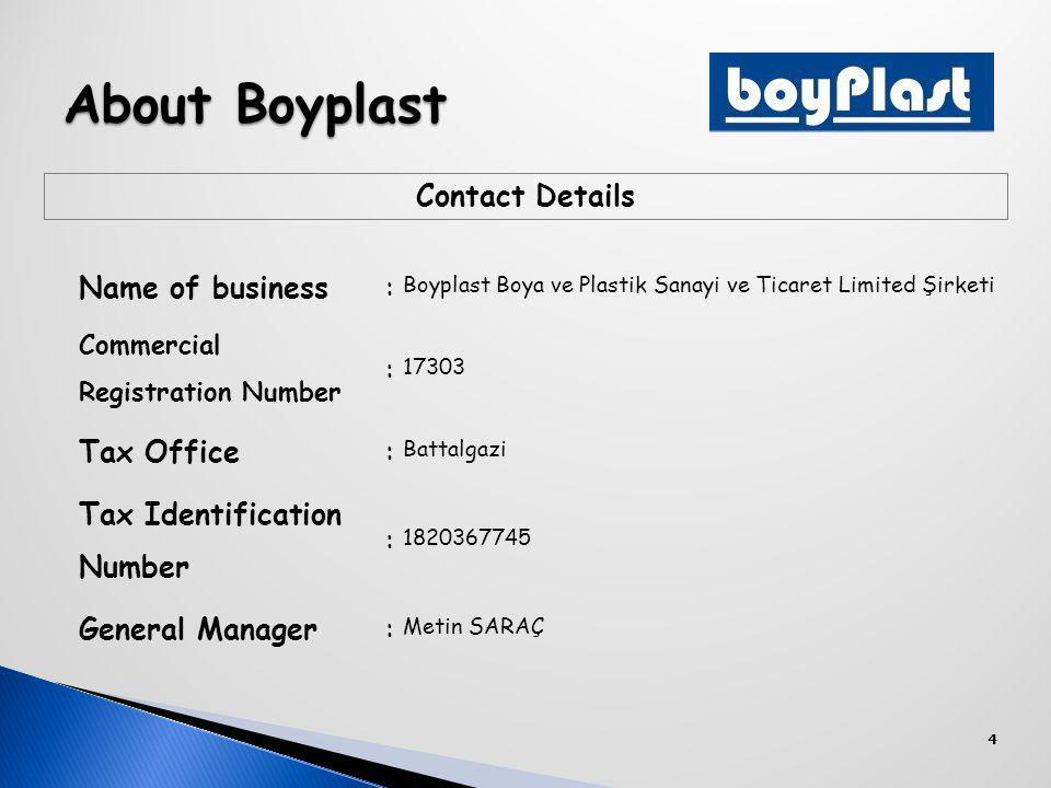 4 Contact Details Name of business: Boyplast Boya ve Plastik Sanayi ve Ticaret Limited Şirketi Commercial Registration Number : 17303 Tax Office: Battalgazi Tax Identification Number : 1820367745 General Manager: Metin SARAÇ About Boyplast