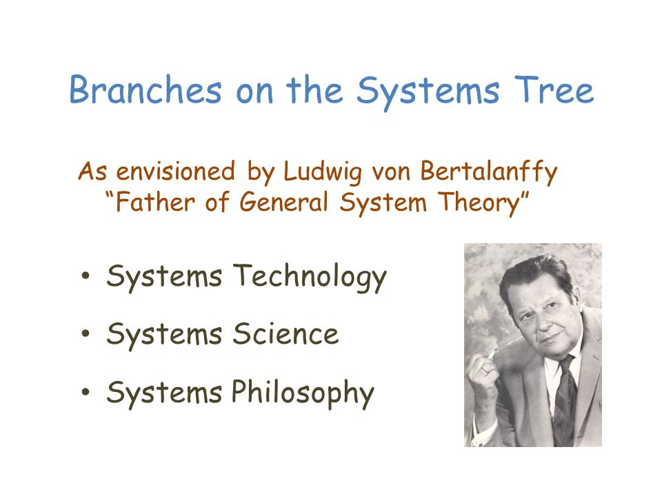 Branches on the Systems Tree Systems Technology Systems Science Systems Philosophy As envisioned by Ludwig von Bertalanffy Father of General System Theory