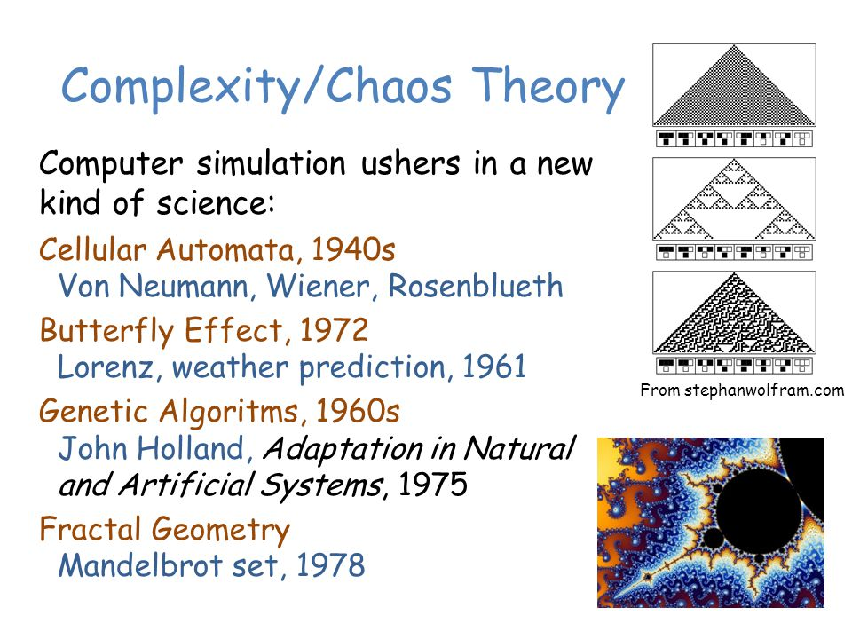 Complexity/Chaos Theory Computer simulation ushers in a new kind of science: Cellular Automata, 1940s Von Neumann, Wiener, Rosenblueth Butterfly Effect, 1972 Lorenz, weather prediction, 1961 Genetic Algoritms, 1960s John Holland, Adaptation in Natural and Artificial Systems, 1975 Fractal Geometry Mandelbrot set, 1978 From stephanwolfram.com