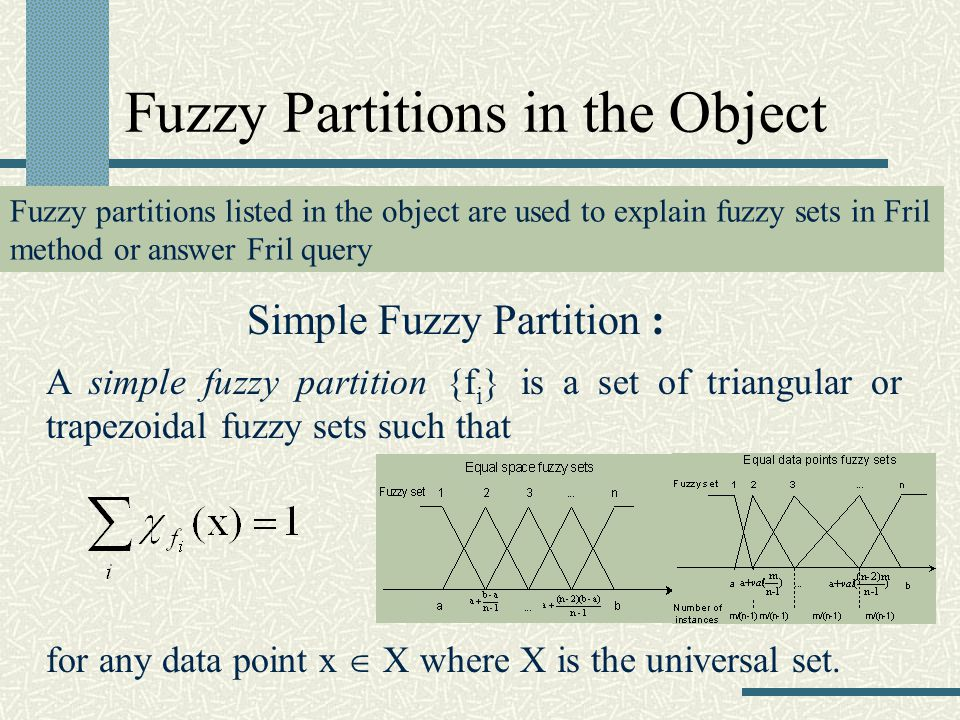 Fuzzy Partitions in the Object Simple Fuzzy Partition : A simple fuzzy partition {f i } is a set of triangular or trapezoidal fuzzy sets such that for any data point x X where X is the universal set.