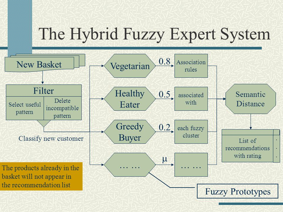 The Hybrid Fuzzy Expert System New Basket Filter Select useful pattern Delete incompatible pattern Healthy Eater Greedy Buyer Vegetarian … 0.5 0.2 0.8 Classify new customer Association rules associated with each fuzzy cluster … List of recommendations with rating......